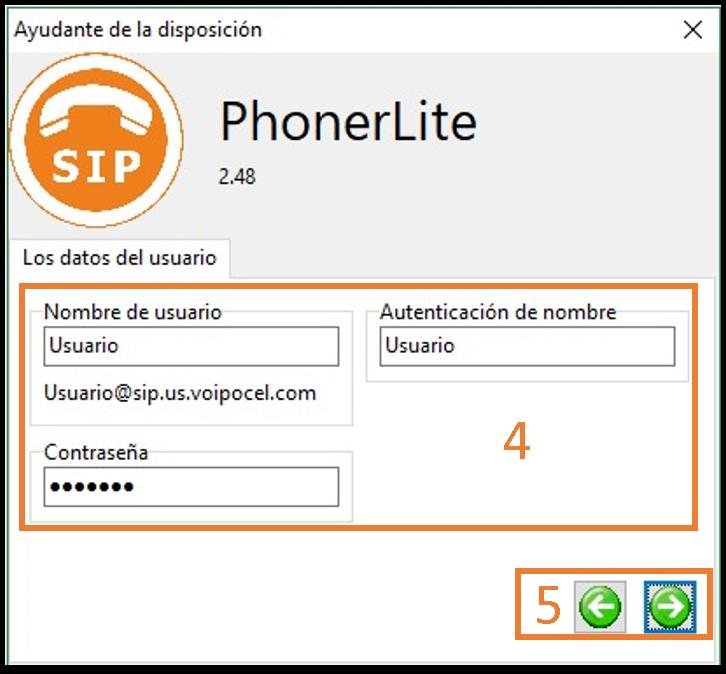 pasos 4 y 5 para configuración de cuenta SIP en Phonerlite