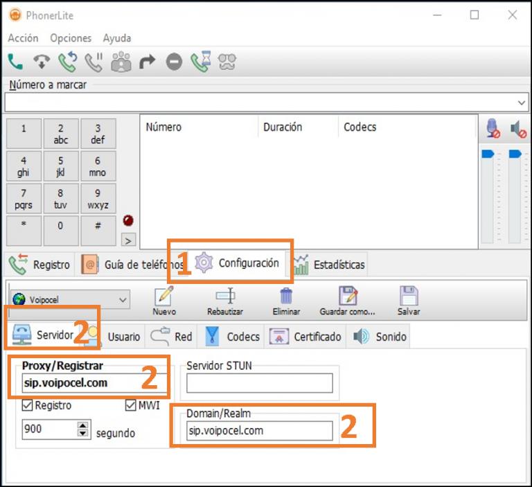 Editar cuenta existente Phonerlite - Voipocel