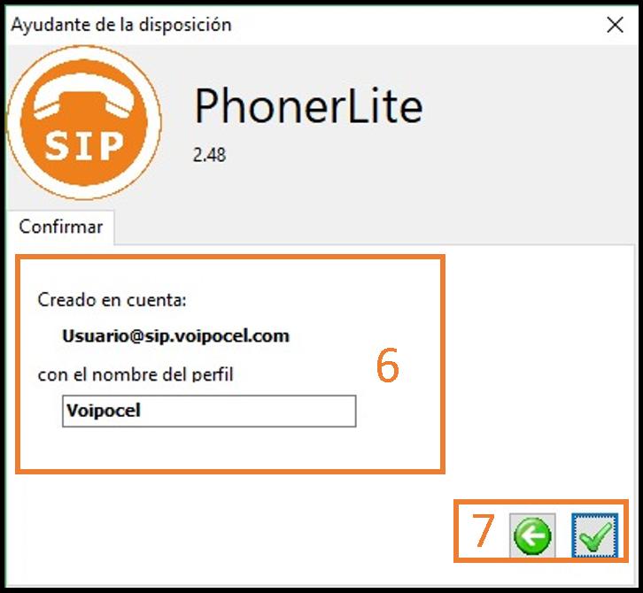 Nueva cuenta Phonerlite, confirmación  - Voipocel