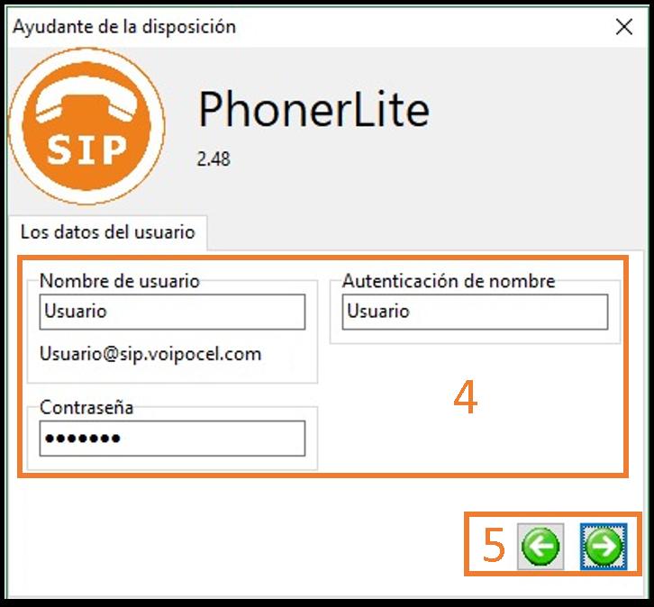 Nueva cuenta Phonerlite, Usuario - Voipocel