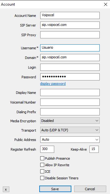 Configuración de Softphone Voipocel en Windows - Voipocel