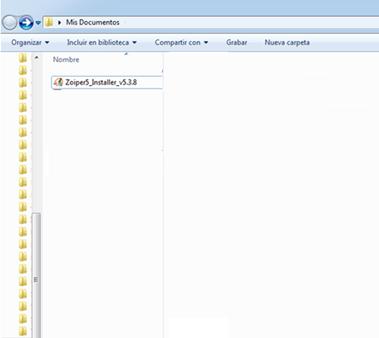 Ubicación de archivo Zoiper en PC