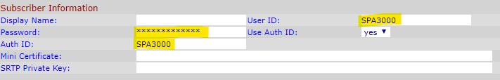 Configuración de suscriptor de Linksys SPA3000